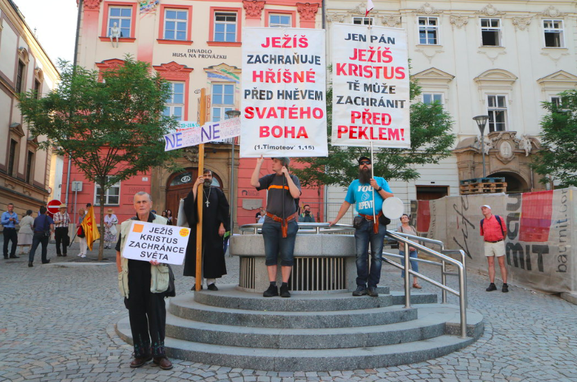 Protests Outside Brno Theatre Performance Of Your Violence My Violence