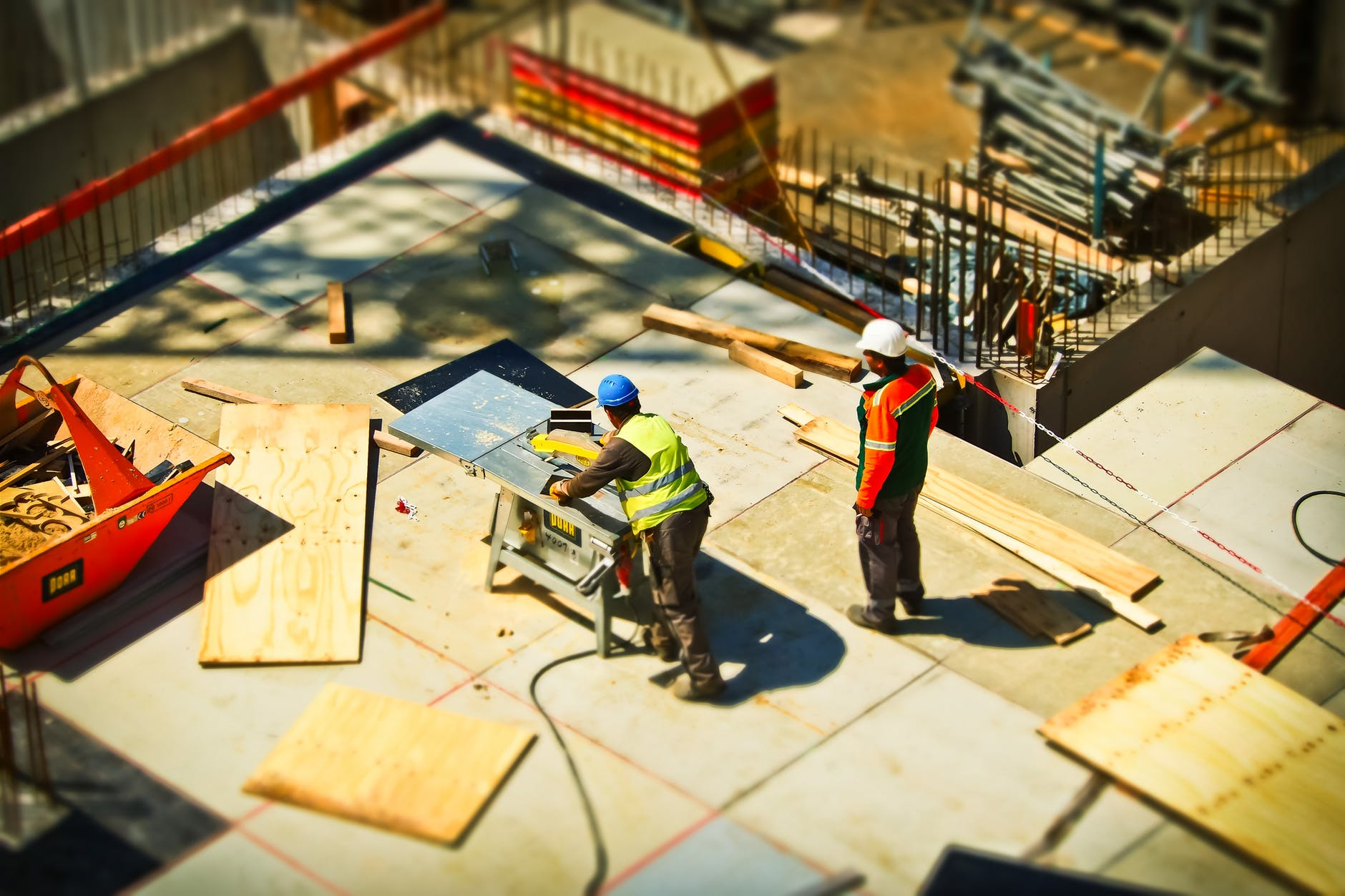 Workers on a building construction site