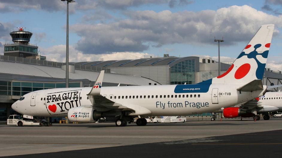 Cesky Aeroholding plane on tarmac at gate