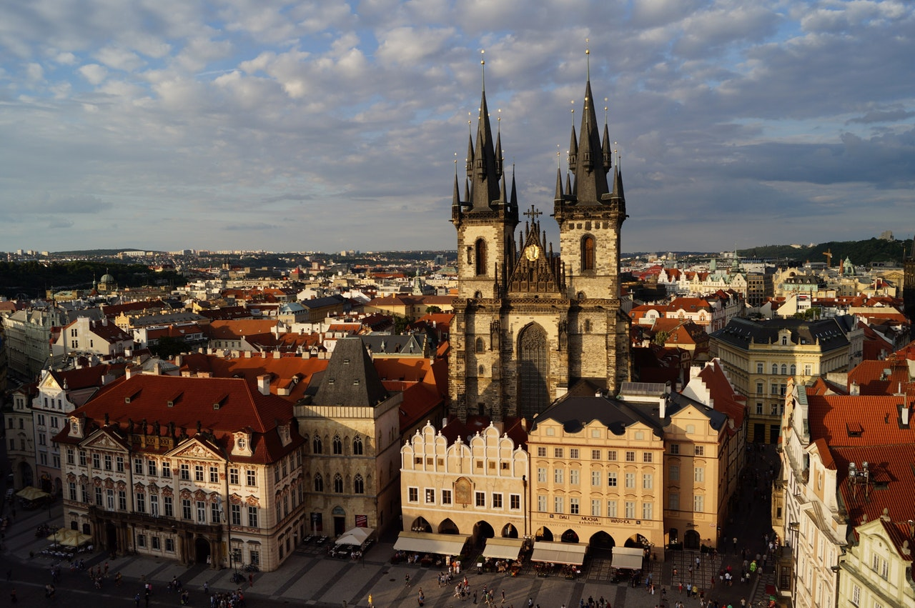 prague vencel square czech republic church
