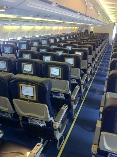 Interiror of empty thomas cook airplane